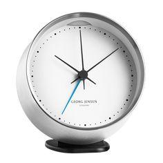 HK CLOCK w. alarm, steel-white, 10 cm Contemporary Clocks, Contemporary Design, Modern Design, Analog Alarm Clock, Vintage Alarm Clocks, White Clocks, Grands Vases, Desk Clock, Scandinavian Design