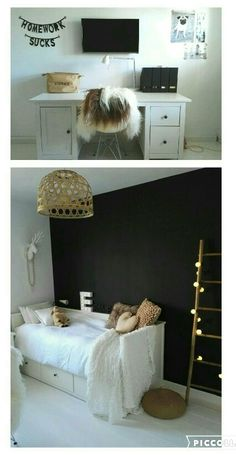 Leuk je kamer zoo!😊 Couple Bedroom, Girls Bedroom, Trendy Bedroom, Modern Bedroom, Industrial Style Bedroom, Bedroom Paint Colors, Dream Rooms, Kid Beds, Small Rooms