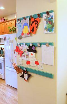 The idea spot: masterpiece display display kids artwork, hang kids artwork, childrens art Hanging Kids Artwork, Displaying Kids Artwork, Artwork Display, Display Wall, Display Ideas, Kitchen Display, Toy Rooms, Kids Rooms, Diy For Kids