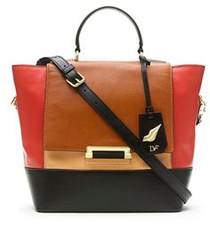 440 Top Handle Colorblock Leather Small Satchel In Saddle/ Nude/ Paprika on shopstyle.com