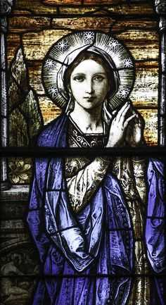 Ecce Ancilla Domini // Detail from a window in Covington Cathedral, KY // Photo: Lawrence OP // Stained Glass Church, Stained Glass Paint, Stained Glass Panels, Blessed Mother Mary, Blessed Virgin Mary, Catholic Art, Religious Art, Mosaic Glass, Glass Art