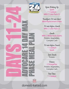 AdvoCare 14 Day Max Phase Supplement & Meal Schedule as part of the 24 Day Challenge