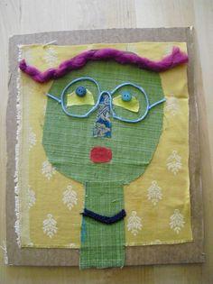 Artincanti Aps :  AUTORITRATTO IN TESSUTO   ispirato all'ironia del grande artista Enrico Baj, ogni bambino utilizzando stoffe e scampoli di tessuto, bottoni e passamanerie, realizzerà il proprio autoritratto.