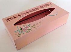 Vtg 50s MCM Mid Century Pink Kleenex Tissue Holder Tole Box Cover Bathroom Metal
