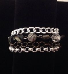 Silver bracelet with a flower toggle flower clasp