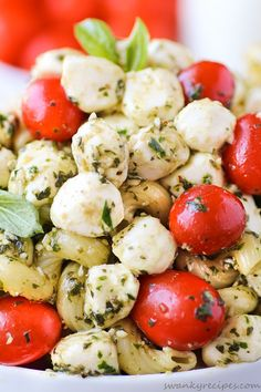 Caprese Pasta Salad.  This turned out so yummy! Made it ahead for a potluck and it was gone quickly. Everyone loved it!