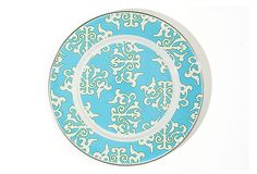 Set of 4 Damask Dinner Plates, Blue on OneKingsLane.com