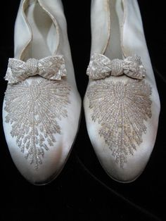 french victorian  shoes | 1890's Victorian Beaded Champagne Silk Wedding Shoes from ...