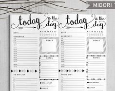 Printable Daily Bullet Journal Inserts, Midori Daily Spreadsheet, Printable Midori Traveler's Notebook Daily planner inserts, PDF file