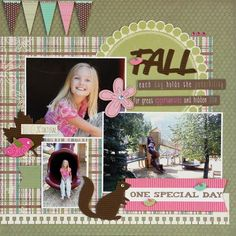 """Lovely Green, Pink & Brown """"Fall, One Special Day"""" Scrapbooking Page...Liz Qualman Designs: September 2012."""