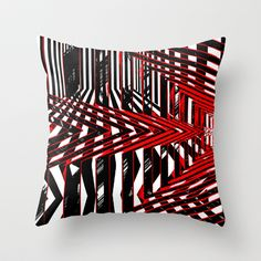 Throw Pillow From $ 20.00 16x16 up to 20x20 Indoor and Outdoor Use Geometric Encounters by Rafael Salazar  Artist from #Colombia  Copyright 2014 - All rights reserved by the author.   Black and white geometric lines fuse together with red accents to form an intricate architectural vision which plays with your eyes in a hipnotic way.