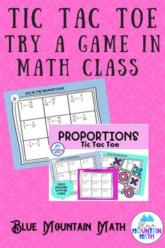 Looking for a fun way to review and practice skills such as solving proportions? Tic Tac Toe is played the traditional way--one student goes first and both students solve the problems. If the first player has the correct answer they mark the square either X or O. Then the second player goes. They continue to take turns until one of them has 3 in a row OR 5 of the 9 squares.
