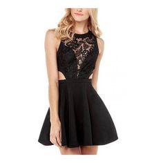 Yoins Black Skater Dress (1,590 DOP) ❤ liked on Polyvore featuring dresses, zipper back dress, skater dress, crochet lace dress and slip on dress