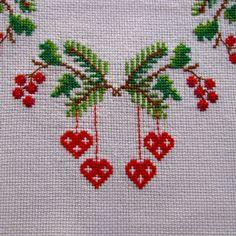 Vintage linnentafelkleed Geborduurde Cross Stitch deur KerryCan