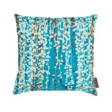 String of Pearls Silk Cushion – Kingfisher/Petrol/Antique Gold/Blue