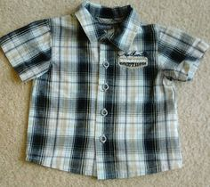 KENNETH COLE REACTION BABY BOY 6-9 Months Plaid Short Sleeve Casual Shirt EUC #KennethColeReaction #DressyEveryday