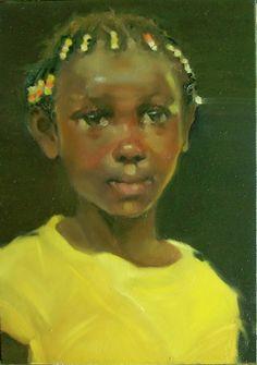 """Jewel"" Kim Roberti's original oil contemporary figure/portrait of a child., painting by artist Kim Roberti Face Art, Art Faces, Artist Gallery, African American History, New Artists, American Artists, African Art, Black History, Art For Kids"