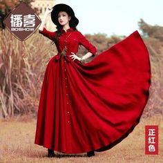 ing 2016 Boshow Fashion Women Long Maxi Long Sleeve Spring And Autumn Dresses With Big Hem Solid Color Pleated Bandage