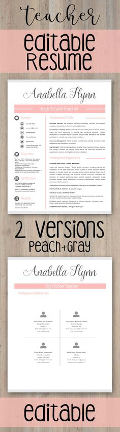 *** 2 *** VERSIONS of Teacher Resume Template | Teacher CV Template + Cover Letter and References Letter Templates for MS PowerPoint and Google Slides  → FULLY EDITABLE (headers, lines, and icons) with PowerPoint and Google Slides  Need help with GOOGLE SLIDES? Click HERE to check out how to upload this PPTX file to Google Slides.