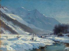 Toussaint Gabriel Loppe, La vallee de Chamonix en hiver, oil on canvas 30 x 40cm