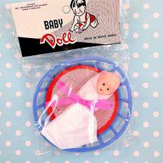 Vintage Baby Doll in Playpen Basket  Plastic by CrankyCakesShop