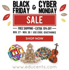 Educents Black Friday/Cyber Monday Sale!   Educents is offering an extra 10% off their already super low prices + free shipping Black Friday thru Cyber Monday. Use code: GIVETHANKS.