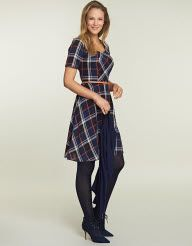 Check Belted Dress in Navy Check by Pepperberry  like the contrast
