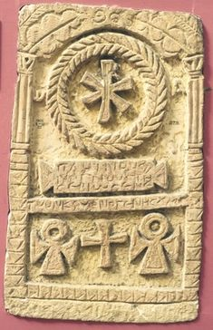 Full: Front Limestone stela of Pleinos(? Chi-Rho within a wreath at the top; Greek text below; cross patee and two ankhs at the bottom. © The Trustees of the British Museum Chi Rho, Early Christian, Christian Art, Roman Sculpture, Templer, Byzantine Art, Ancient Artifacts, Medieval Art, British Museum