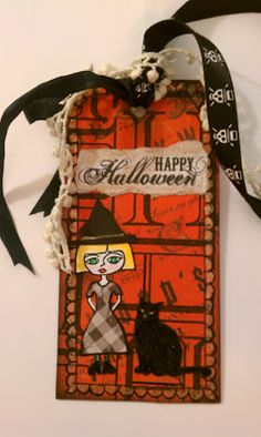 The Aviary- paper wings productions stamped halloween tag