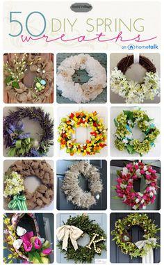 50 Spring Wreath Inspirations at theDIYvillage.com