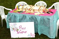 """another cute idea...activity table at Fairy Party """"Pixie Workshop"""""""