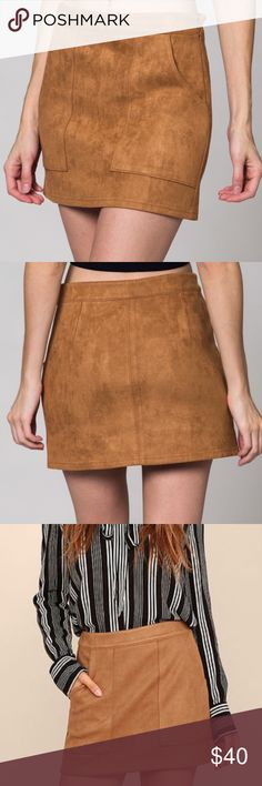 Honey Punch Satisfaction Suede Skirt  DO NOT BUY THIS LISTING, READ FIRST: Simply chic, this microfiber suede skirt is stretchy and soft. Fits true to size with a banded waistband, pockets, and hidden side zipper with clasp. Pair this with your favorite Vintage Graphic Tee for the perfect Music Festival Outfit! Tip: Skirt will be fitted around your natural waist, and consider sizing-up if between sizes. Only $32 at 2weeksnoticeclothing.com >>link in our profile<< Honey Punch Skirts