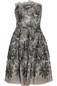 Floral-embroidered tulle dress #embroideddress #women #covetme #lelarose