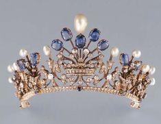 Pearl, Sapphire, and Diamond Tiara