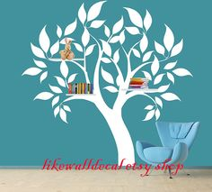 Vinyl Wall Decal charm lovely tree leaves shelf shelving leaf trees home house Art wall Decals Wall Sticker stickers baby room kid B528