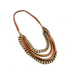 Boho chic style orange/pumpkin bib necklace