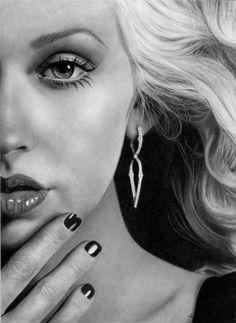 Pencildrawing of Christina Aguilera by Josi Fabri