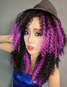 bruxa de milho da menina do cabelo crespo roxo&halloween peruca festa 40 centímetros preto das mulheres