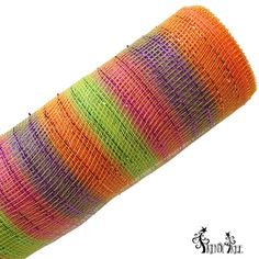 "Snapdragon Designer Poly Mesh Netting Size: 20"" in width; 10 yards in length Material: Synthetic Poly Color: Orange Lime Purple Fuchsia stripe metallic foil"
