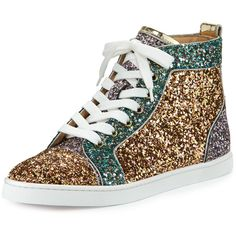 Christian Louboutin Bip Bip Glittered High-Top Sneaker ($945) ❤ liked on Polyvore featuring shoes, sneakers, multicolor, shoes sneakers, colorful sneakers, lace up sneakers, metallic high top sneakers, christian louboutin sneakers and metallic sneakers