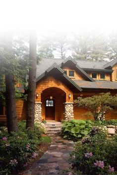 This is exactly what I want to live in someday. Wood, in the woods, nature, cozy!