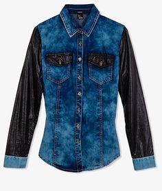 Faux Leather Trim Denim Shirt.