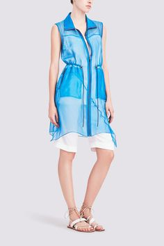ILONA VEST IN SILK ORGANZA: Fashioned in sheer silk organza, this asymmetrical vest is the epitome of elegant ease. It features a drawstring waist and two-way zipper at front for added styling options. Blue Boots, Silk Organza, Elie Tahari, Drawstring Waist, Vest, Suits, Elegant, Luxury, Womens Fashion