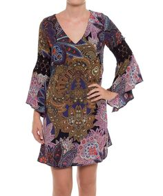 Look at this Coveted Clothing Purple Arabesque Bell-Sleeve Shift Dress on #zulily today!