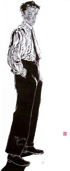 woodcut Portrait of Egon Schiele by German born printmaker Dirk Hagner