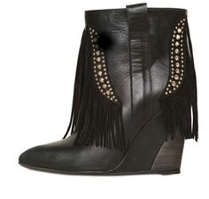 Strategia Leather and Suede Fringe Wedge Boots in Black - Lyst