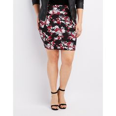 Charlotte Russe Floral Bodycon Mini Skirt ($14) ❤ liked on Polyvore featuring plus size women's fashion, plus size clothing, plus size skirts, plus size mini skirts, black multi, floral mini skirt, charlotte russe, floral bodycon skirt and floral print mini skirt