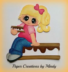 Craftecafe Mindy Summer smores camping girl premade paper piecing scrapbook page