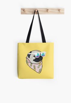 'Pug Summer Time' Bolsa de tela by Lostanaw #totebags #bag #puglover #love #pugs #puppy #cute #dogs #pets #fashionpug #redbubble #shop #lostanaw #accessories #womensfashion
