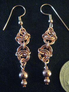 Double Vertebrae Copper Chainmaille Earrings